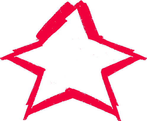 red star outline scribble