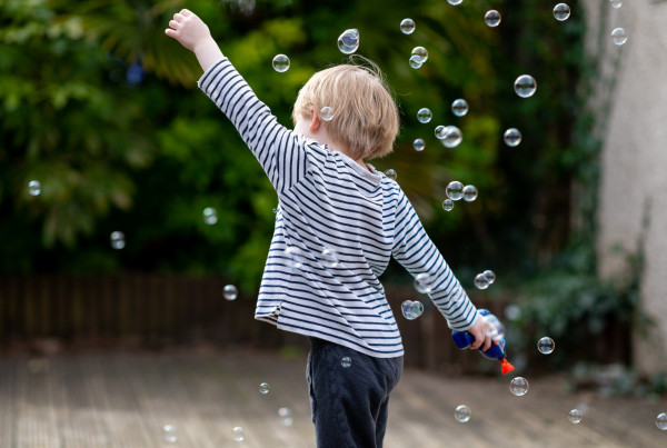 external reinforcement example - playing with bubbles